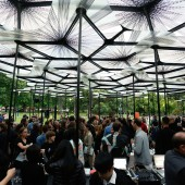 Drinks at MPavilion, designed by British practice Amanda Levete Architects in the Queen Victoria Gardens