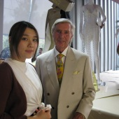 Neil McGrath presenting Grathelms Prize to Bachelor of Fashion Design student Hanzhang (MeiMei) Xu at the 'B-Town Fash Wrap' graduate exhibition 2015.