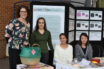 From left to right: Project Leader & Dip. TDD Teacher Lucy Adam with students Vanessa Pricone (People's Choice Award Winner), Kristen Salguero (Etiko 'Industry Choice' winner) and Chau Ping Leung.