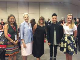 Left to Right: Christina Yu (Ipa Nima), Prof. Gael McDonald (President RMIT Vietnam), Ms Karen Lanyon (Australian Consul General in HCMC, Vietnam) and Australian fashion designer Leroy Nguyen.