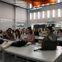 Fourth year students visiting Level 12 for Orientation Week. Photography by Jane Morley.