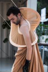 Dancer performs in 'Precarious Bodies', photographed by Zoe Kostopoulos.
