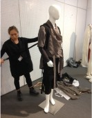 Kim prepares her project 'Obscure Jacket' as part of the student competition. Photo by Gareth Kershaw.