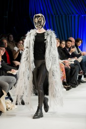 Coat by Bachelor of Fashion (Design) (Honours) student Isabella Smith; headpiece by Ryan Tavcar (Model: Eva)
