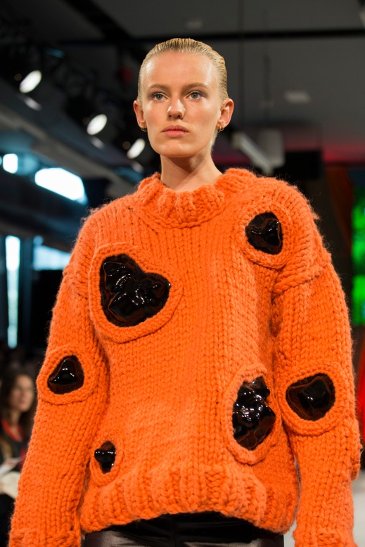 'Molten' sweater design by Bachelor of Arts (Textile Design) student Bridget O'Rourke (Model Carly)