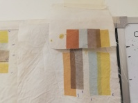 fuji silk samples after steaming and washing. Top sample has been pretreated with Vitasoy, bottom sample with alum.