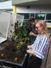 Brett capturing Hayley Cordes planting African Marigolds